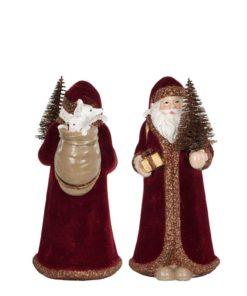 Julenisse, mørkrød velour 13 cm