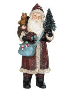 Julenisse, med juletre og blå veske