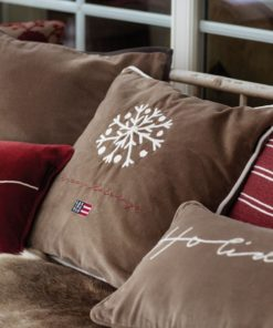 Lexington Snowflake Embroidered Cotton Velvet Pillow Cover