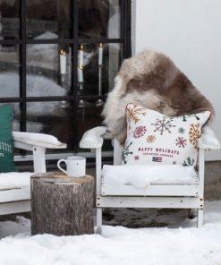 Lexington Snowy Embroidered Cotton Velvet Pillow Cover
