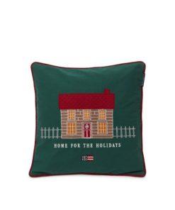Lexington House Organic Cotton Twill Patch Embr Pillow Cover