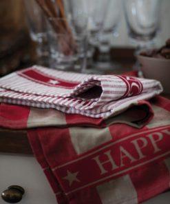 Lexington Happy Holidays Organic Cotton/Linen Kitchen Towel, red/beige