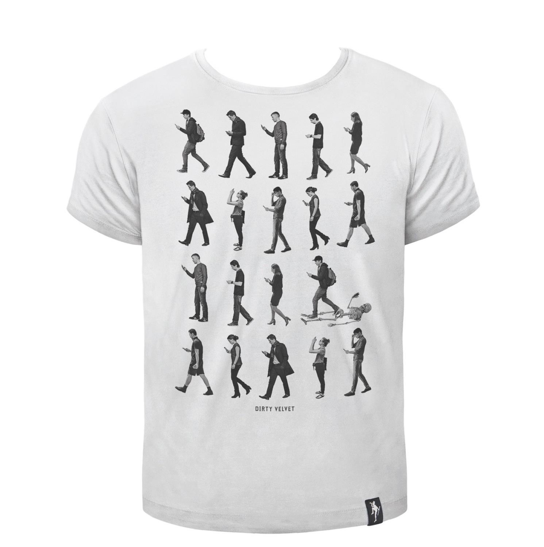 Dirty Velvet Phone Zombies T-shirt White