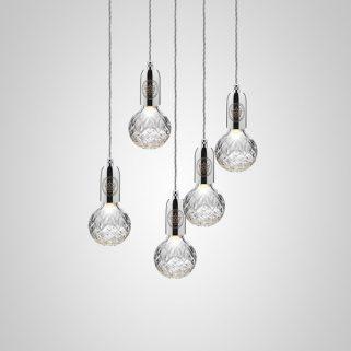 Crystal Bulb Lysekrone 5 Klar/Krom