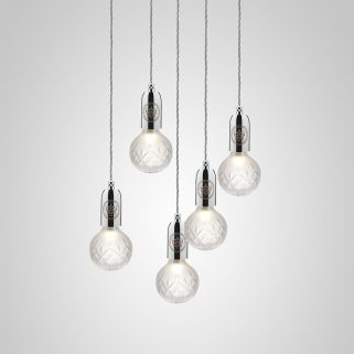 Crystal Bulb Lysekrone 5 Frostet/Krom
