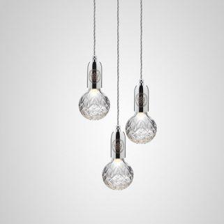Crystal Bulb Lysekrone 3 Klar/Krom