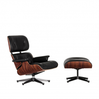 Lounge Chair + Ottoman Polished/Sides Black