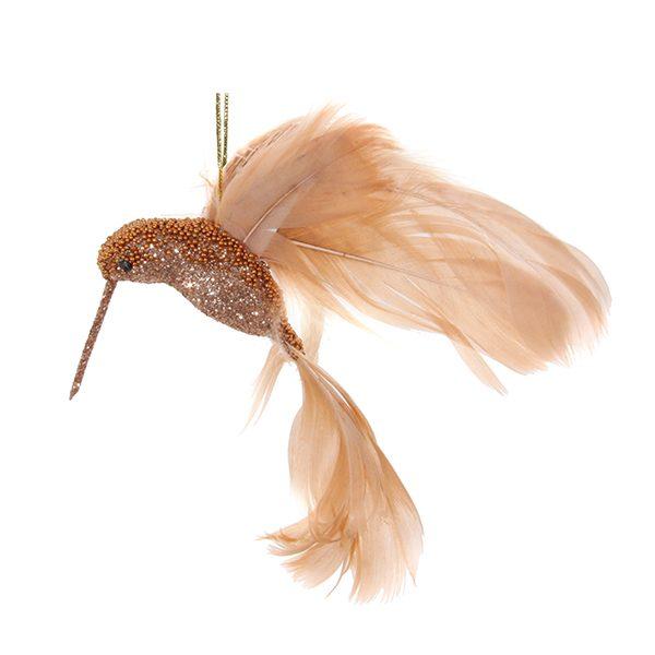 Julepynt Kolibri Fersken/Perler 12cm