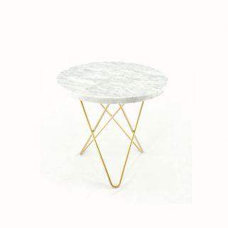 O Table 40Ø Messing/Hvit