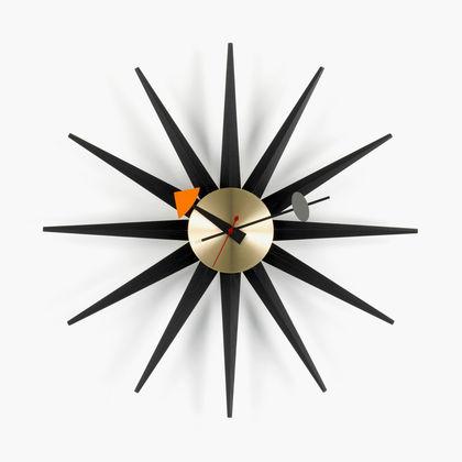 Klokke Sunburst 47Ø Svart/Messing