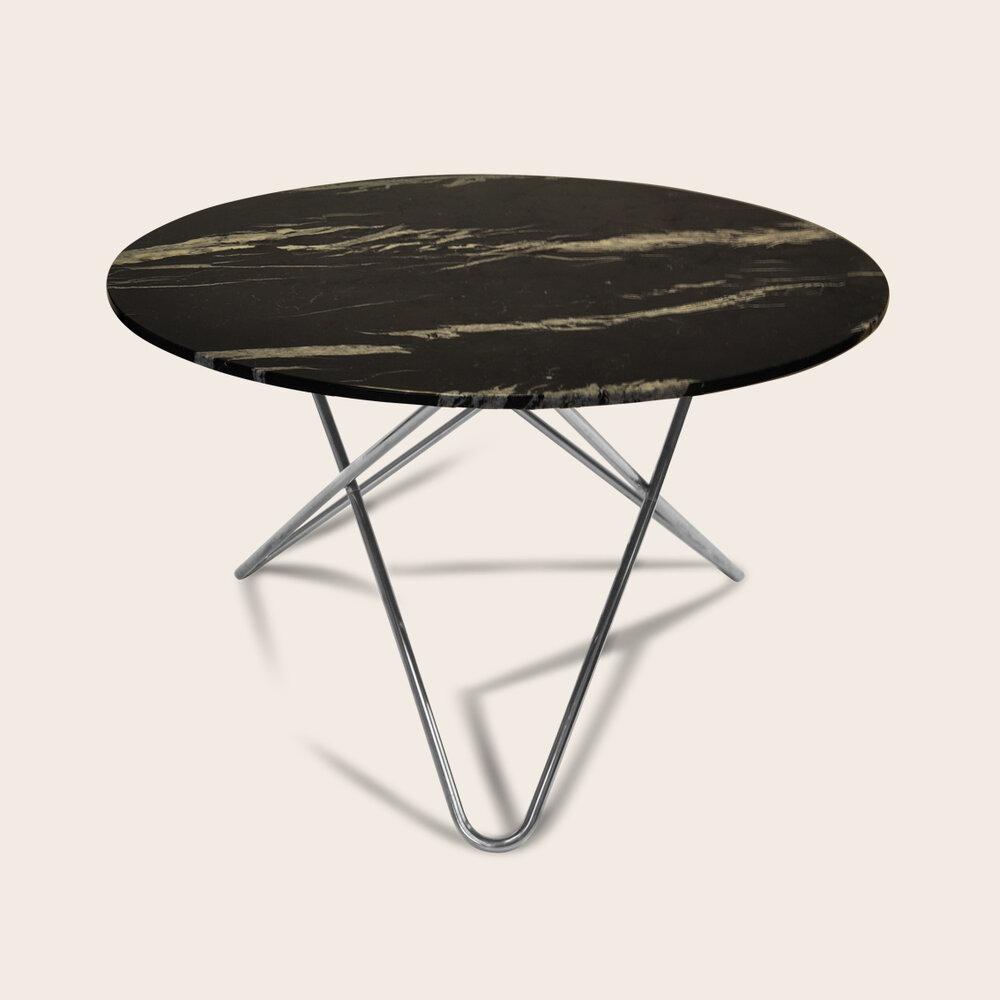 BIG O Spisebord 120Ø Stålben/Sort Marmor