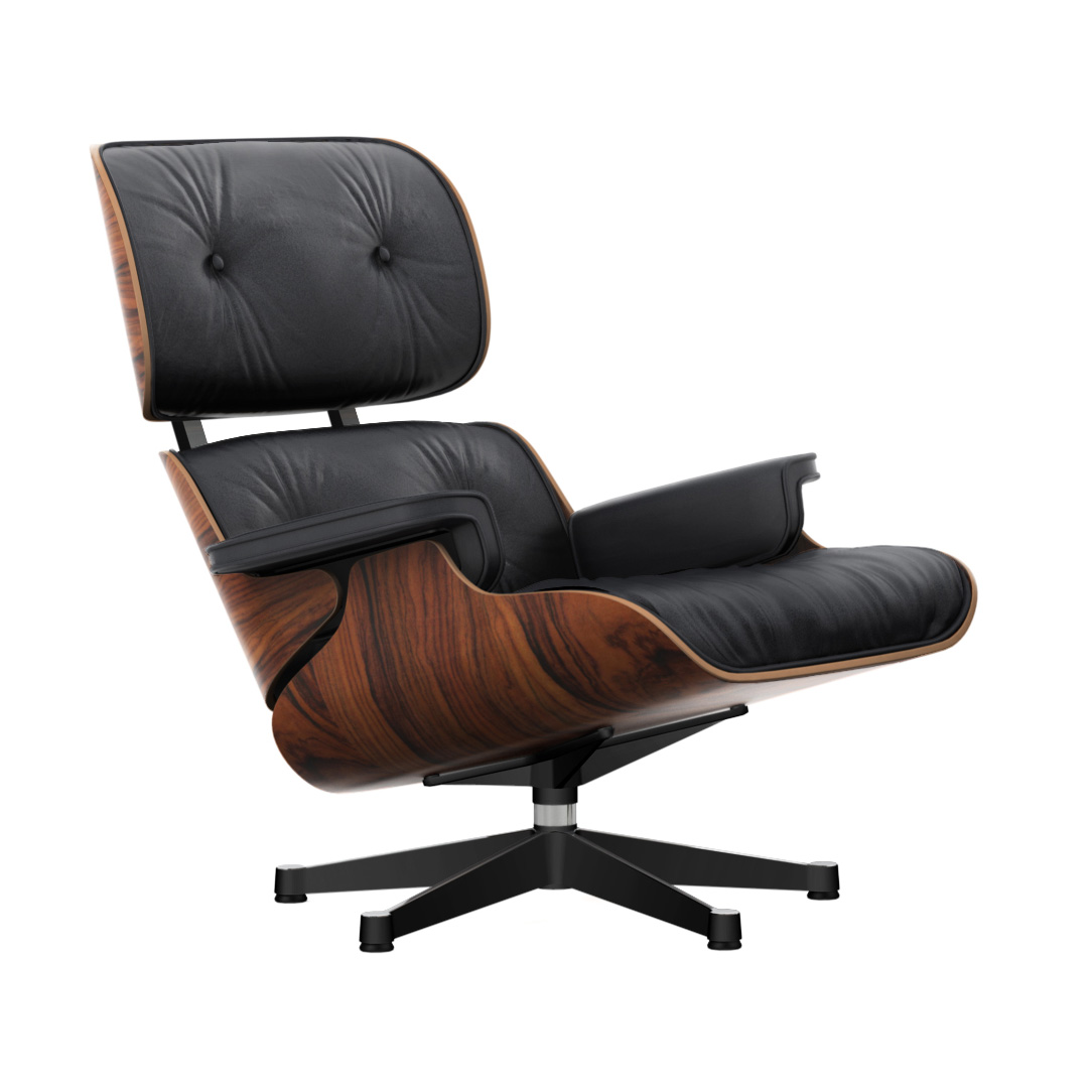 Eames Lounge Chair Palisander/Polished/Sides Black