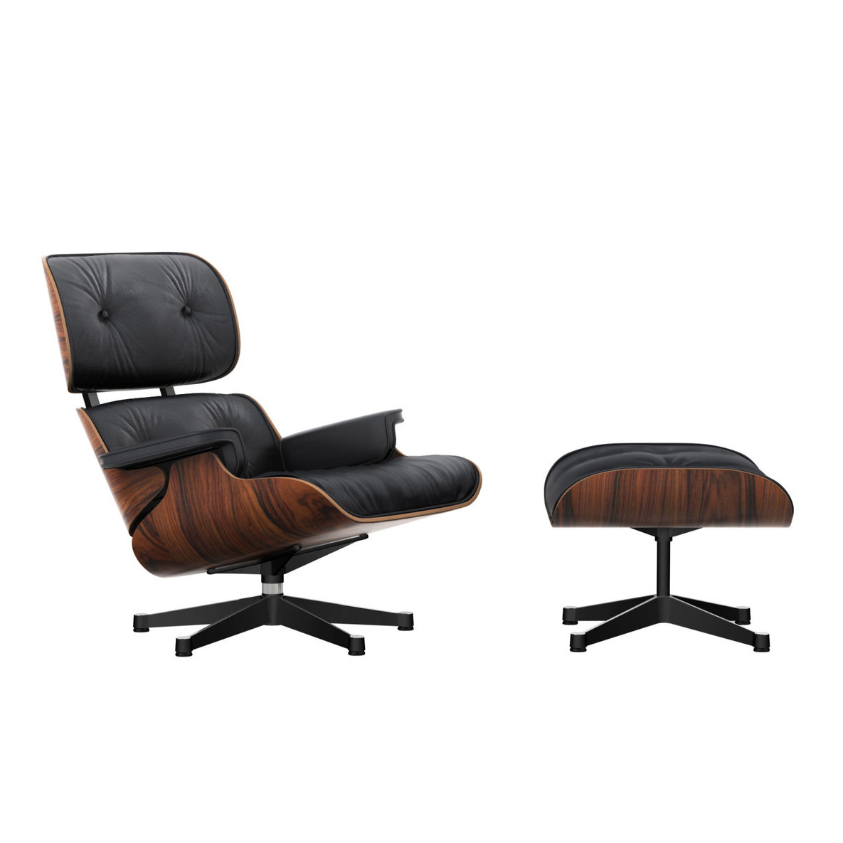 Eames Lounge Chair m/Ottoman Nero/Palisander/Polished/Sides Black