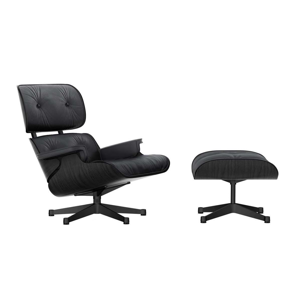 Eames Lounge Chair m/Ottoman Nero/Sort Ask