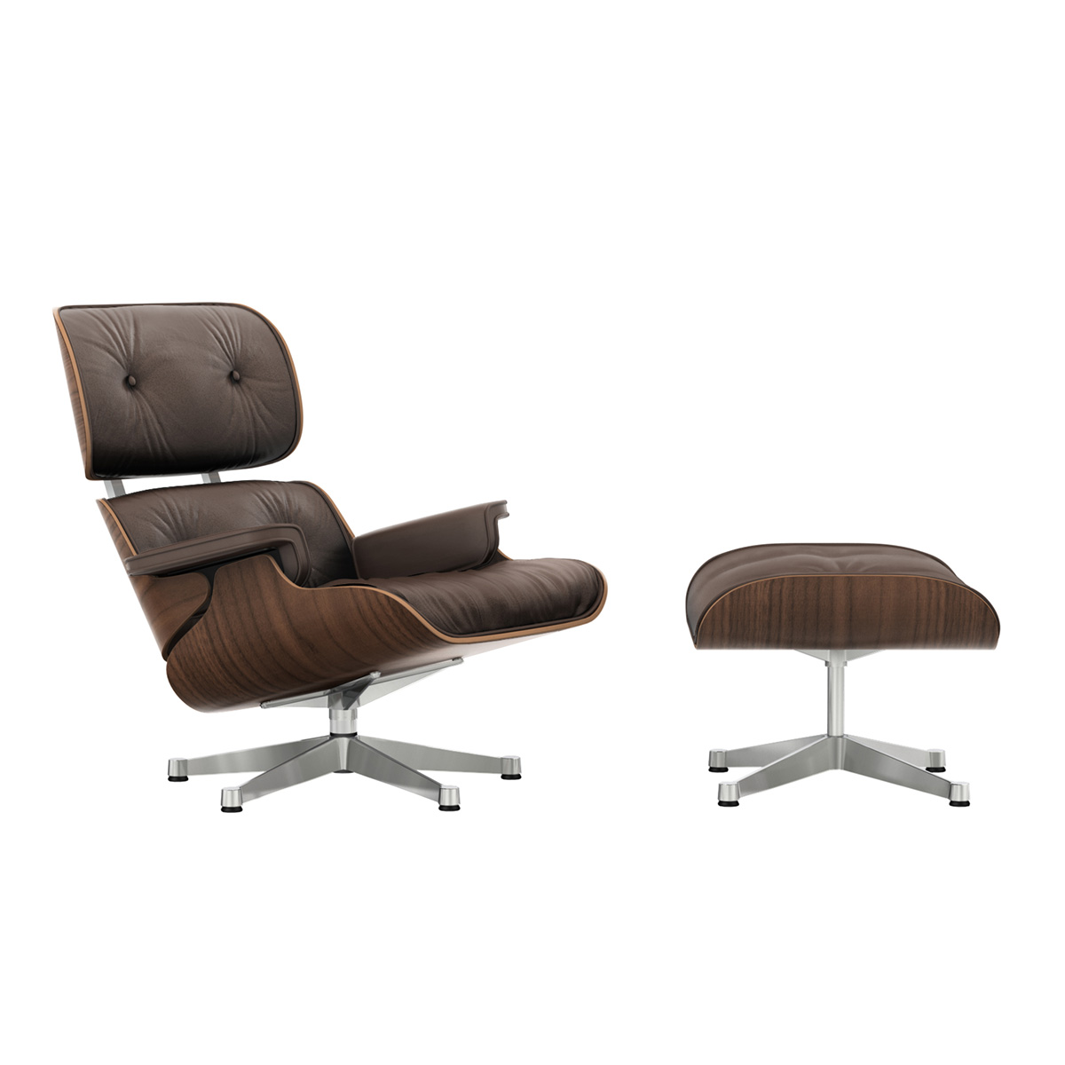 Eames Lounge Chair m/Ottoman Marron/Valnøtt/Polished