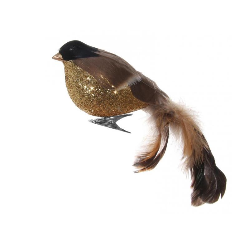 Julepynt Fugl Gull/Brun 17cm