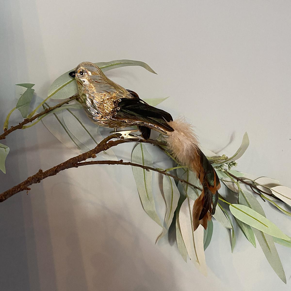 Julepynt Fugl Gull/Brun 26cm