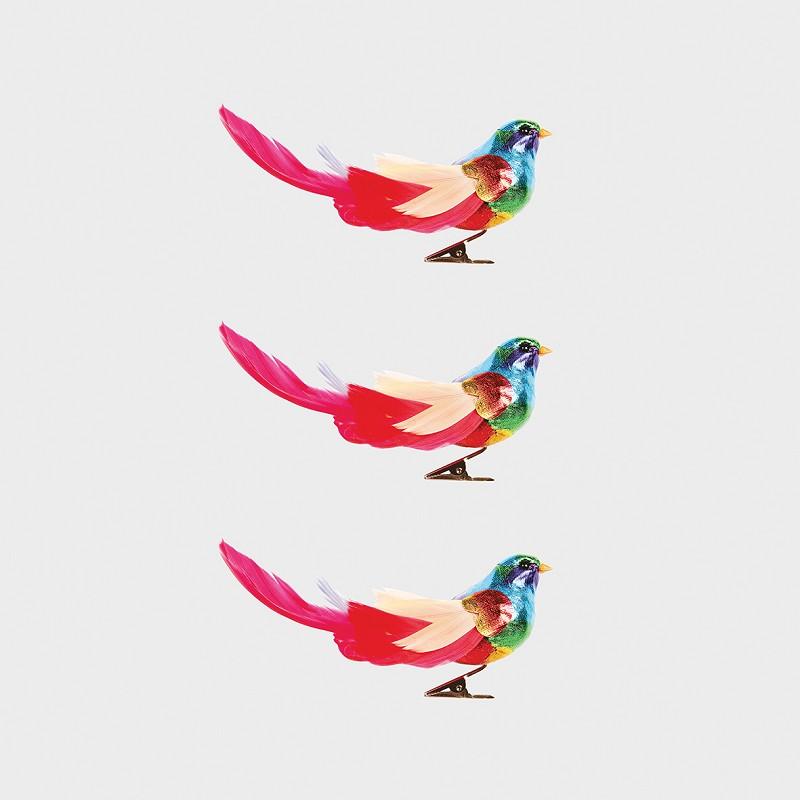 Julepynt Fugl Rainbow 3 stk