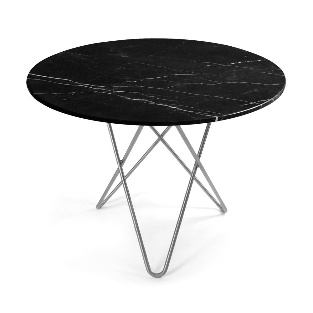 O Spisebord 100Ø Sort Marmor Stålben