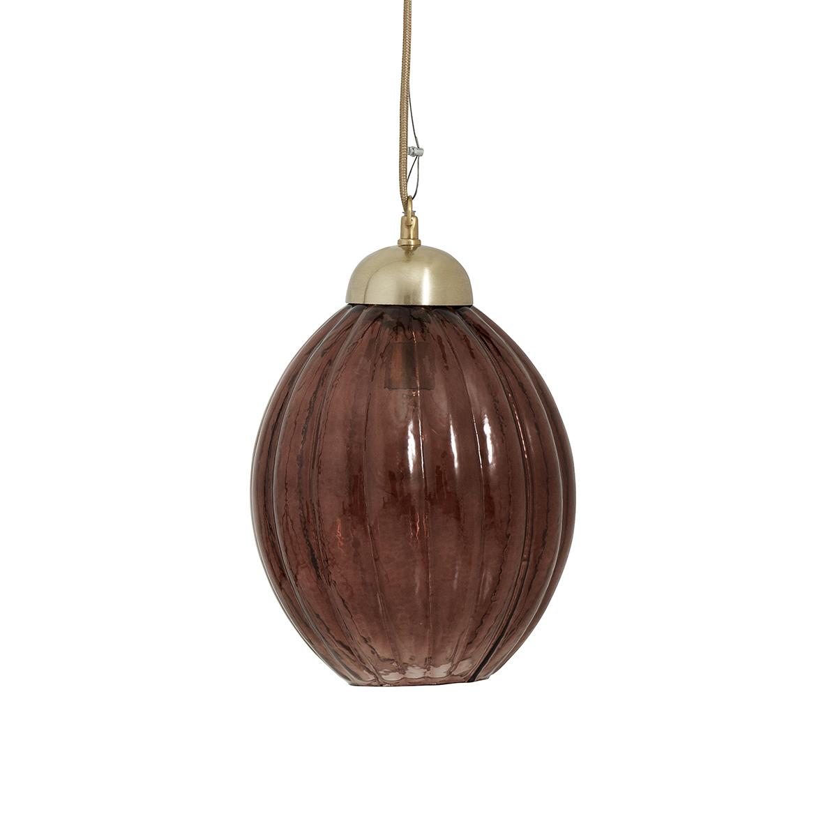 Taklampe Pumpkin Burgunder Glass/Messing