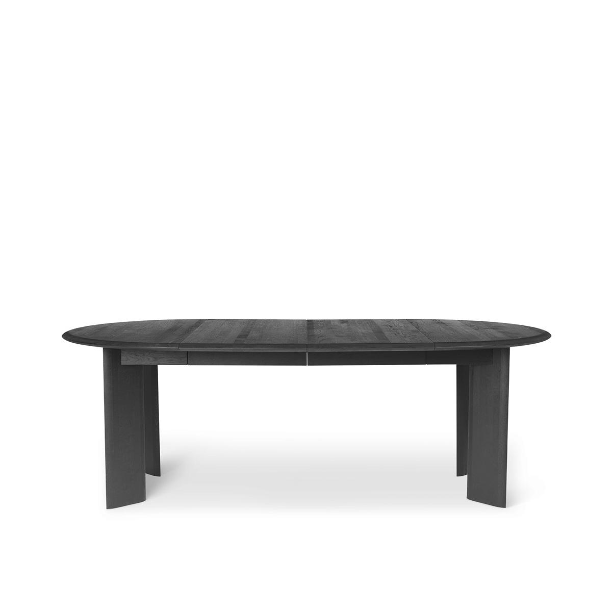 Spisebord Bevel Ø117-217cm Sort Oljet Eik