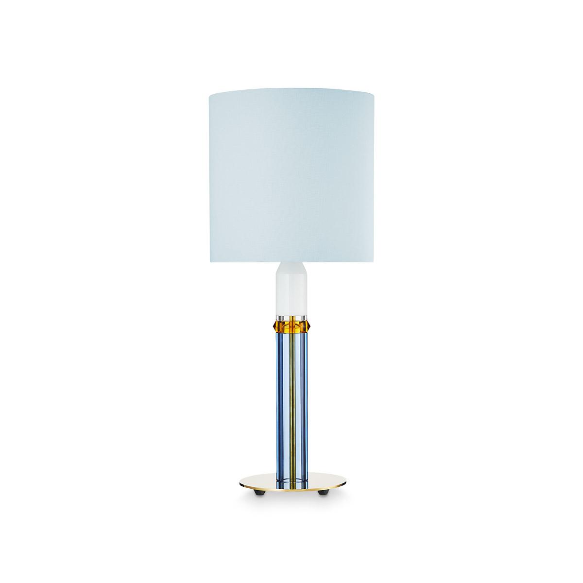 Carnival bordlampe i krystall med lyseblå skjerm.