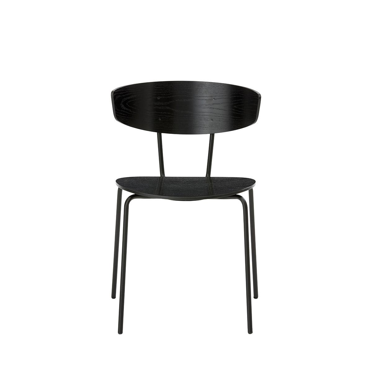 Spisestuestol med ben i sort pulverlakkert stål og sete i sort tre