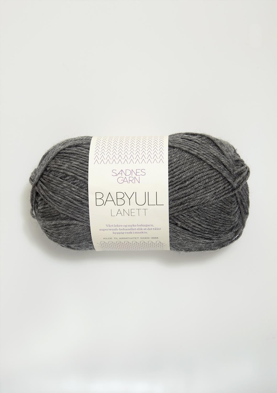 BABYULL LANETT   MØRK GRÅMELERT 1053