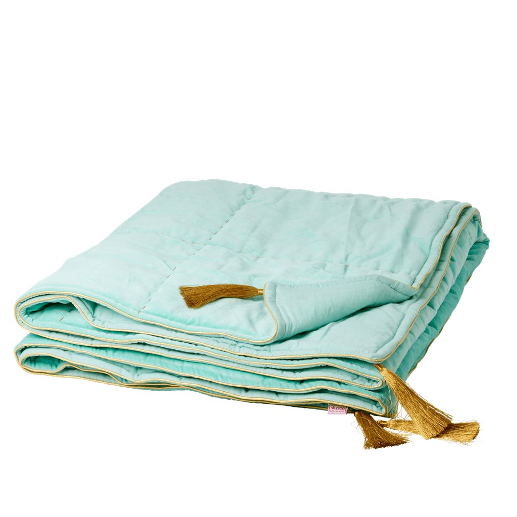 Dark Mint Velvet Blanket with Gold Piping