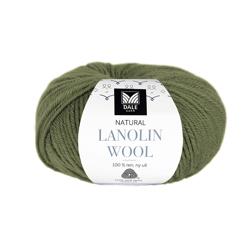 NATURAL LANOLIN WOOL 1436 Olivengrønn