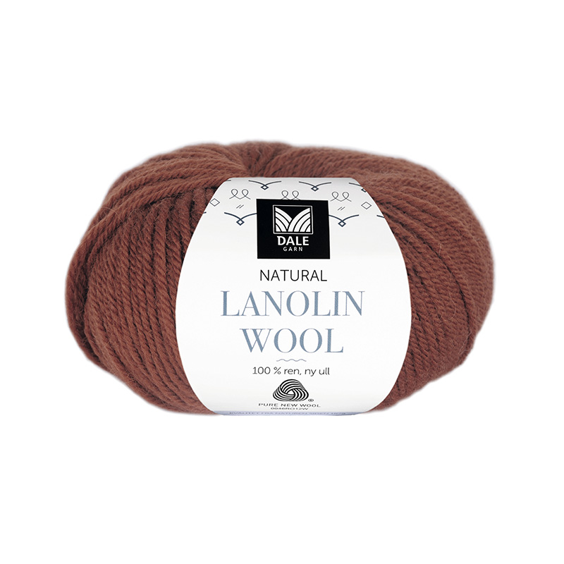 NATURAL LANOLIN WOOL 1427 Mørk rust