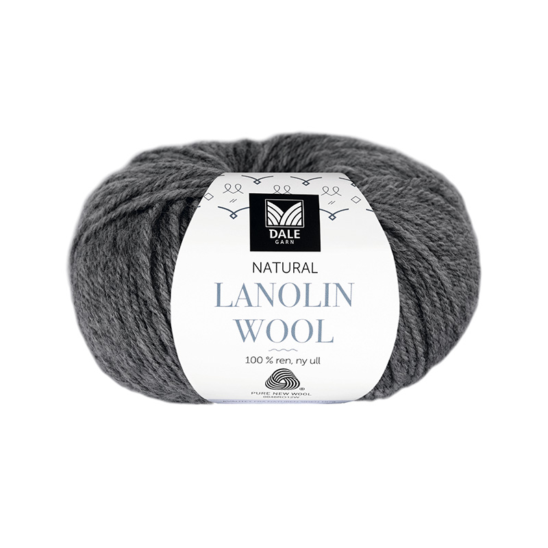 NATURAL LANOLIN WOOL 1419 Mørk grå melert