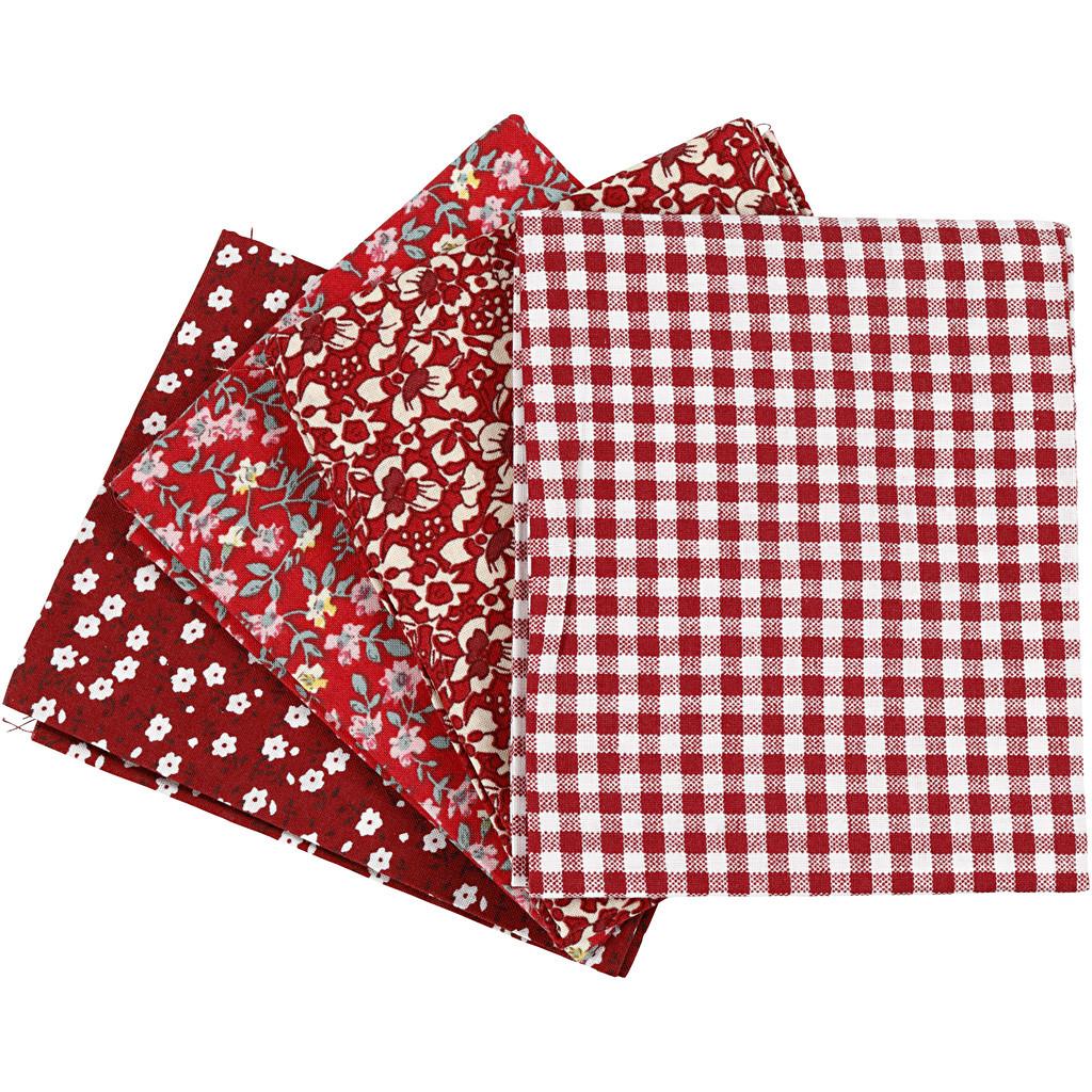 Patchwork stoff 4 pk, rød