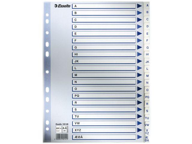 Register Esselte plast A4 maxi A-Å hvit