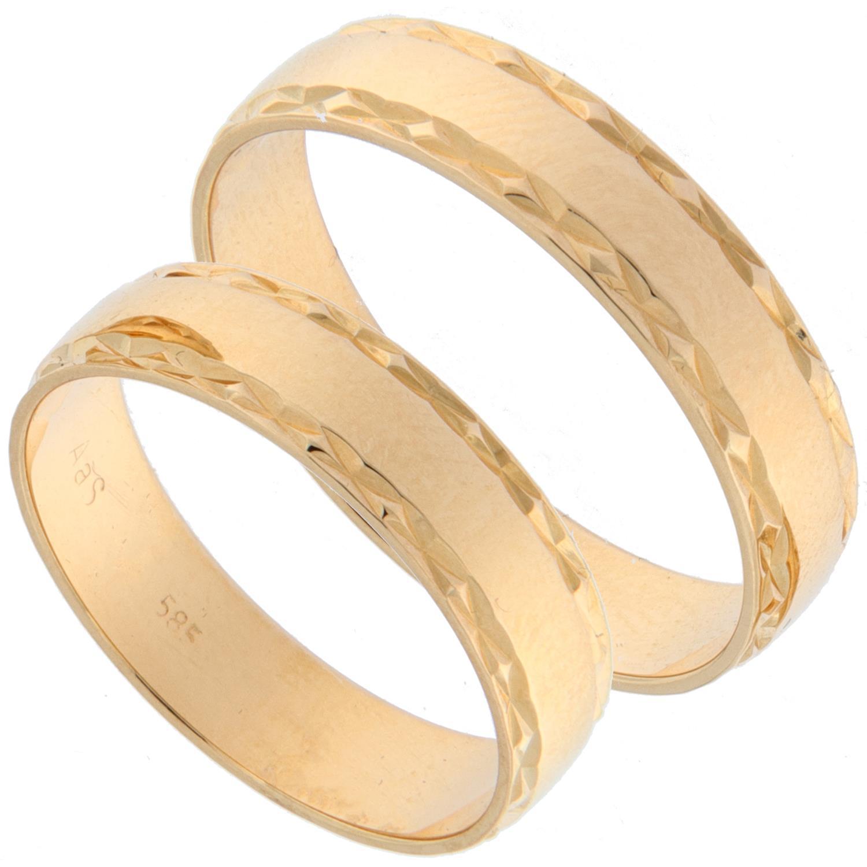Forl.-/giftering gull 5mm m/slipt mønster i sidene