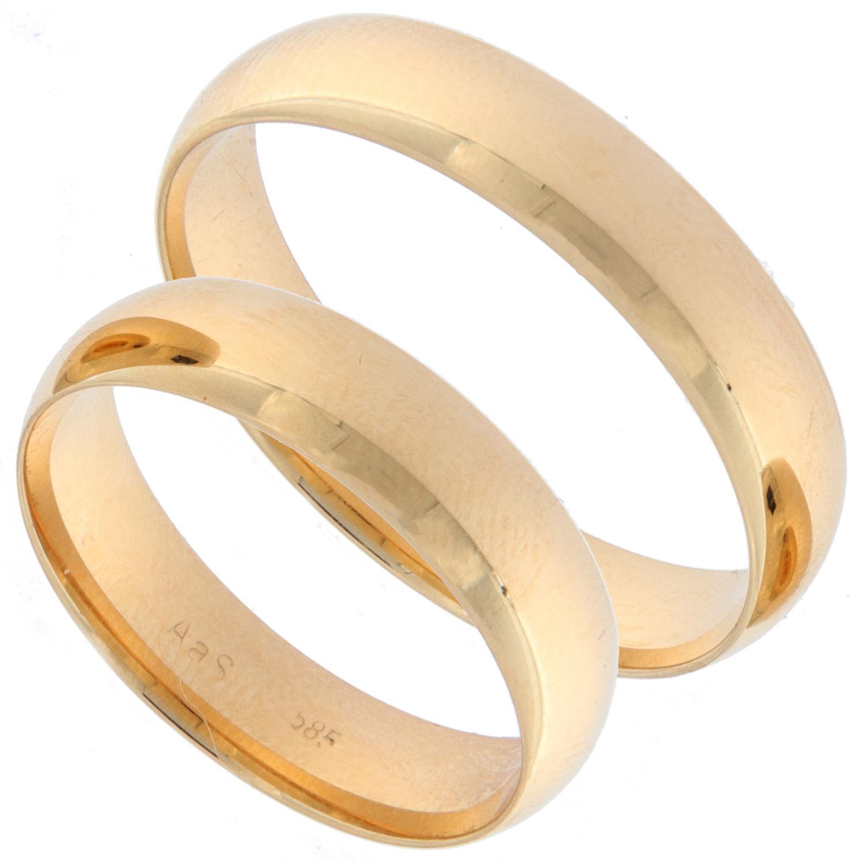 Forl.-/giftering gull glatt 5mm buet innside og utside