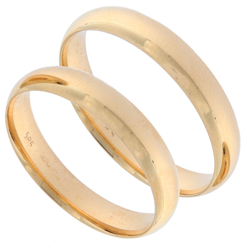 Forl.-/giftering gull glatt 4mm buet innside og utside