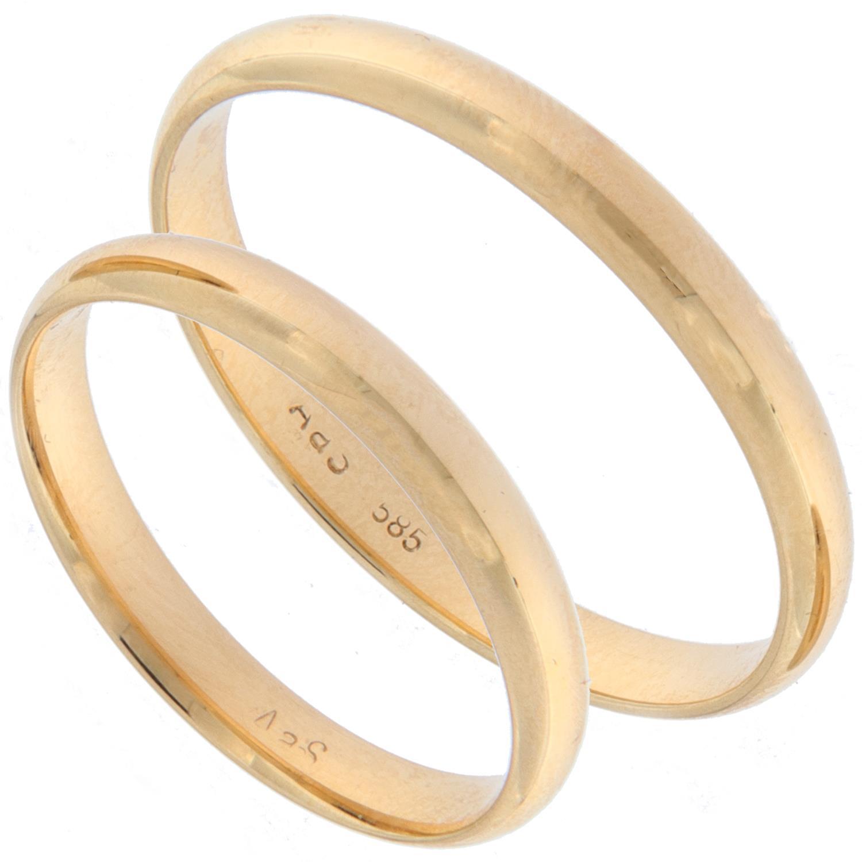 Forl.-/giftering gull glatt 3mm buet innside og utside