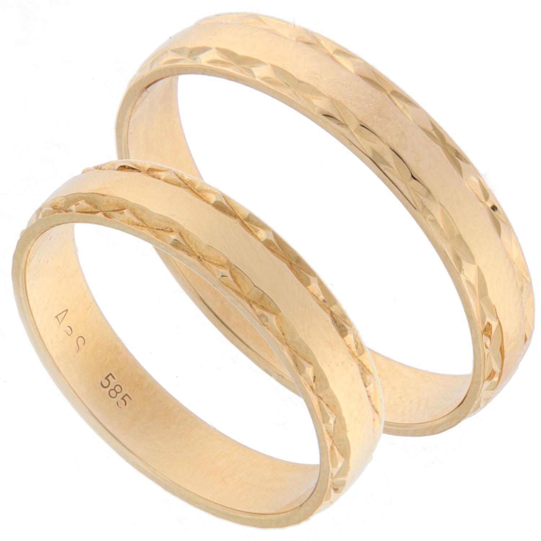 Forl.-/giftering gull 4mm m/slipt mønster i sidene
