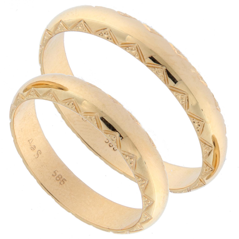Forl.-/giftering gull 4mm buet m/slipt mønster i sidene