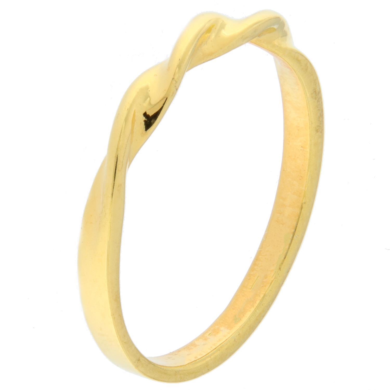 Ring forgylt sølv smal m/tvinnet topp