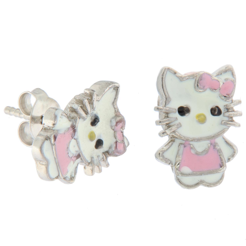Ørepynt sølv Kitty m/rosa + hvit emalje