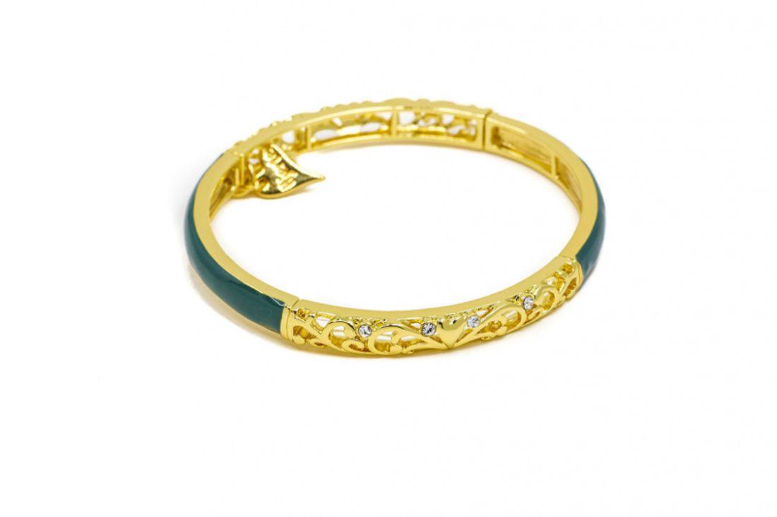 """Armlenke """"gull"""" leddet m/grønn emalje og stener"""
