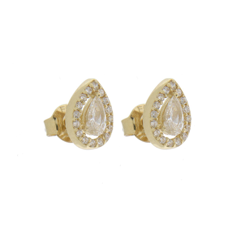 Ørepynt gull dråpe-rosett m/c.zirconer