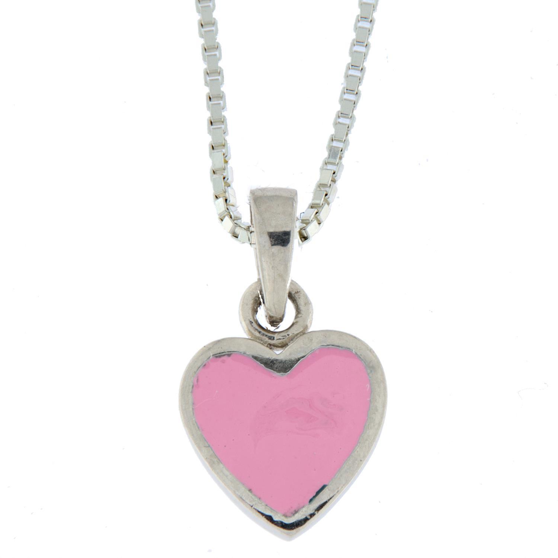 Anheng sølv hjerte m/rosa emalje