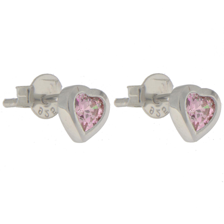 Ørepynt sølv hjerte m/sten rosa/ lysblå/ blank/ lilla