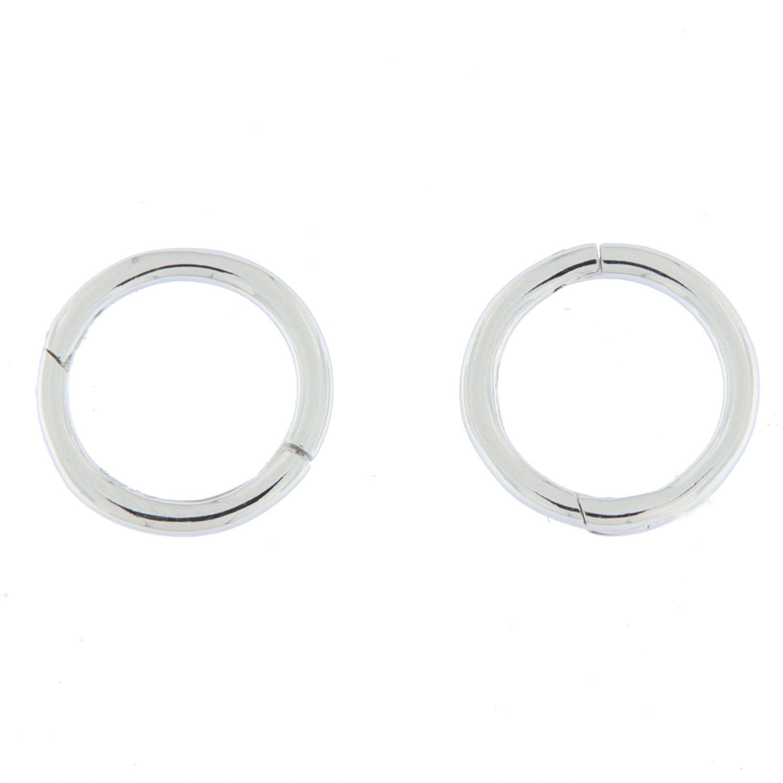 Øreringer rh.sølv glatt 9ø rundt rør m/innebygd hengsle