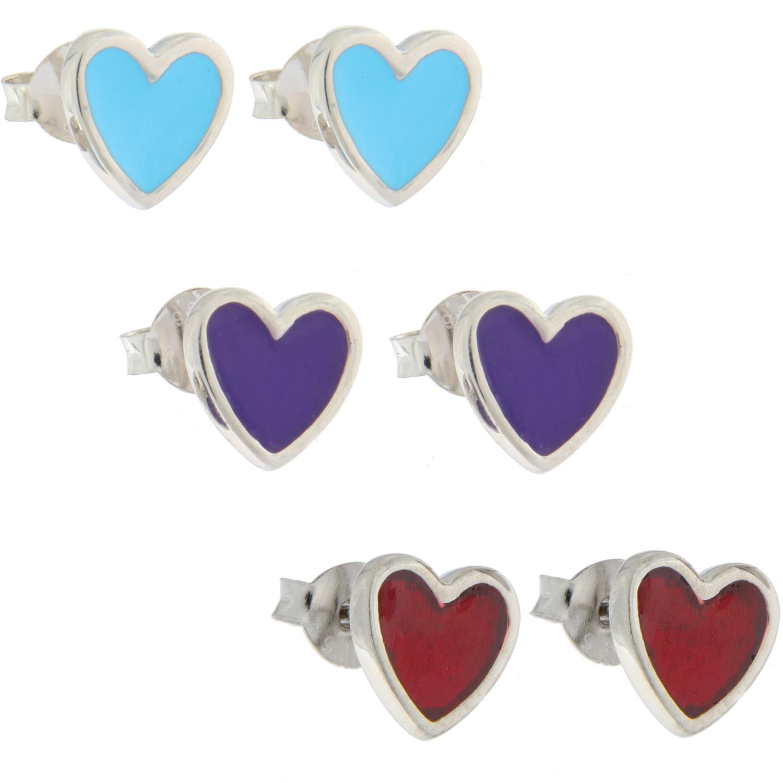 Ørepynt sølv hjerte m/emalje