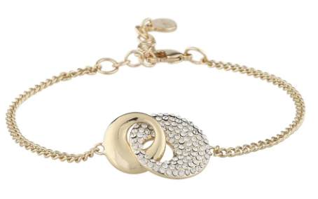 """Armlenke """"gull"""" chunky ringer i hverandre m/blanke stener 16+3cm"""