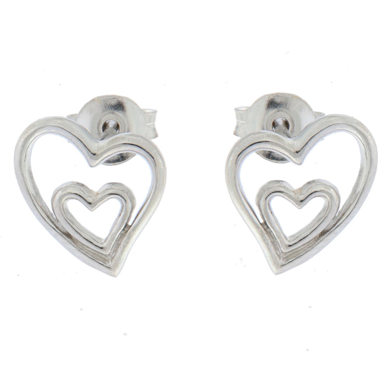 Ørepynt sølv doble hjerter